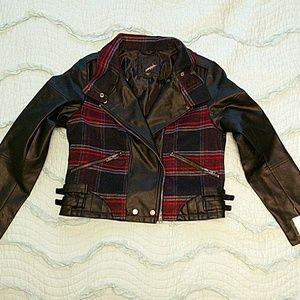 Leather Jacker with Plaid